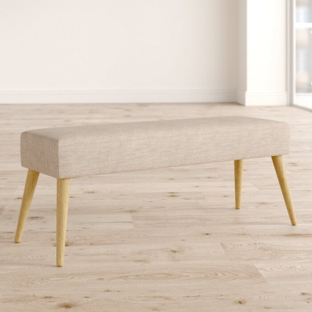 Banca Mira, lemn masiv/ tapiterie, bej, 45 x 112 x 40 cm