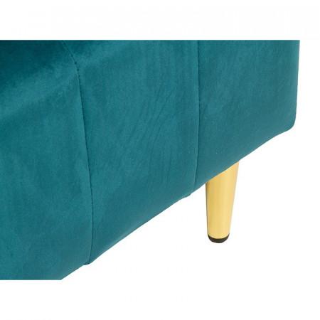 Bancă Sophie cu țesătură verde din catifea, 114x44x40cm