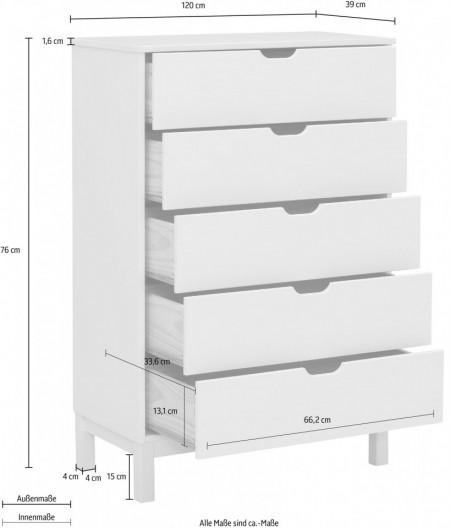Comoda Post 5 sertare, lemn masiv de pin, maro, 76x39x113 cm