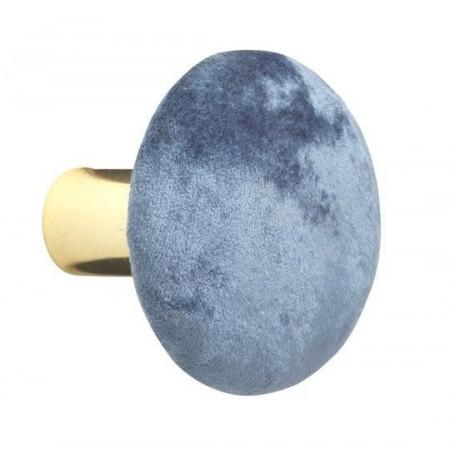 Cuier de perete Helene metal/catifea, albastru, diametru 5 cm