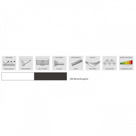 Dulap de baie Tampa alb/gri, PAL, 60 x 35 x 86 cm