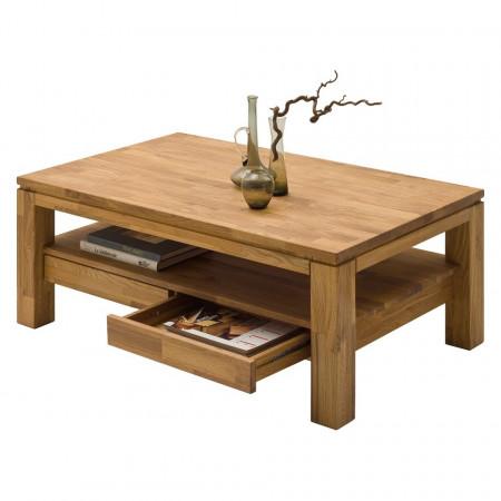 Masa de cafea cu sertare Jerik din lemn masiv de stejar, maro