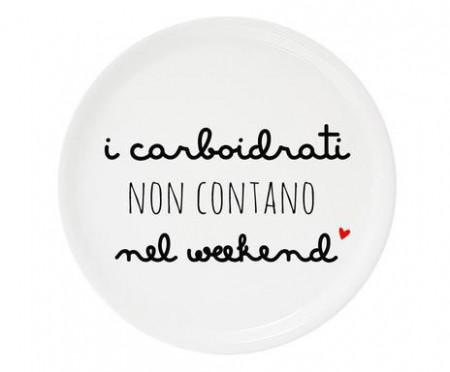 Platou decorativ de pizza Carboidrati, portelan, alb, diametru 30 cm