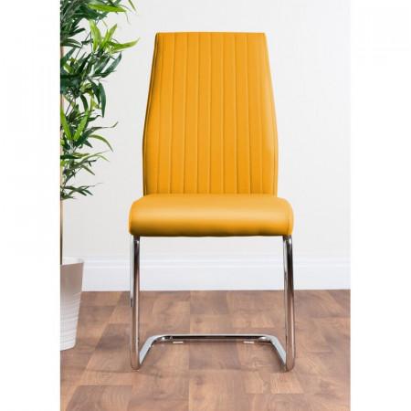 Set 2 scaune de masă tapițate Strout, muștar, 97 x x 57,5 cm