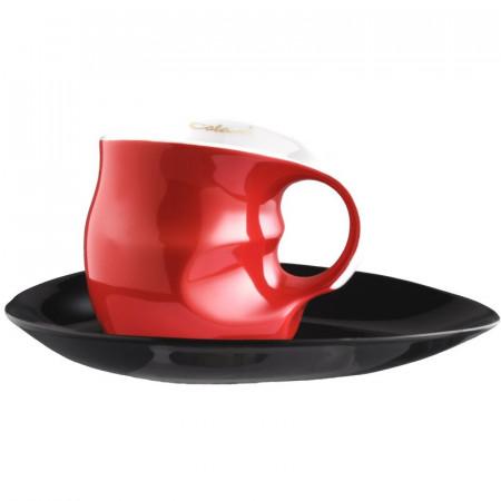 Set cafea Espressissimo pentru doua persoane, rosu/negru, portelan