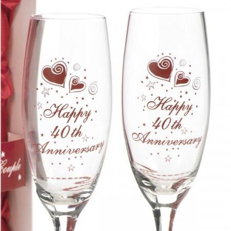 Set de 2 pahare Aniversare 40 de ani de la casatorie