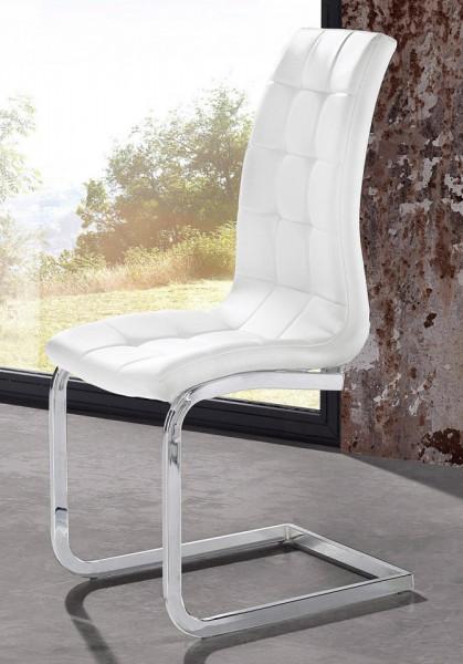 Set de 2 scaune LOLA din piele sintetica/metal, alb/argintiu, 52 x 54 x 101 cm