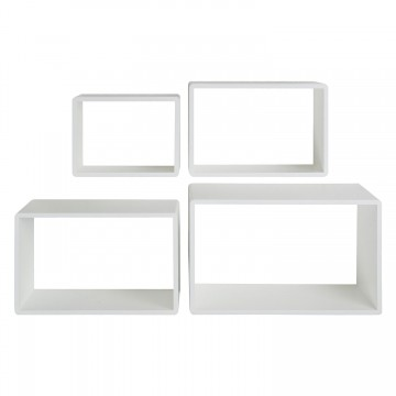 Set de 4 rafturi Regal Oss, MDF, albe