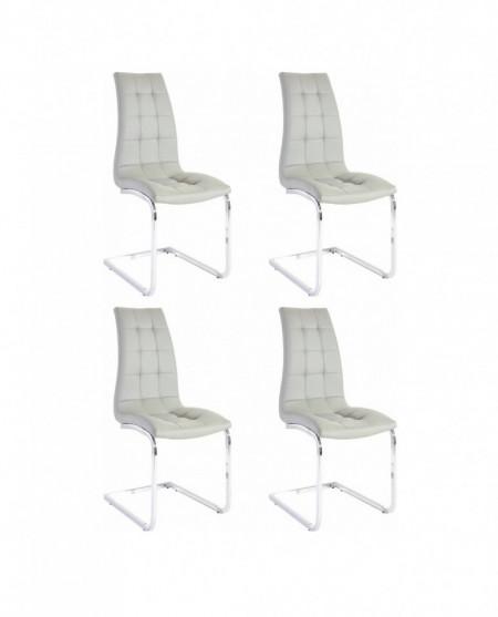 Set de 4 scaune LOLA din piele sintetica/metal, gri/argintiu, 52 x 54 x 101 cm