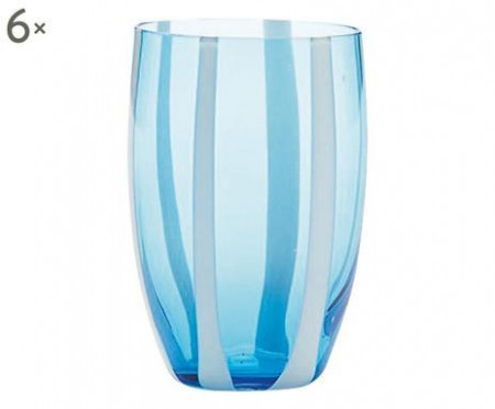 Set de 6 pahare Gessato acquamarina, sticla, multicolor