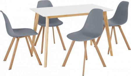 Set de living Veneto / Cody masa + 4 scaune, MDF/tesatura, gri, 120/70/76 cm