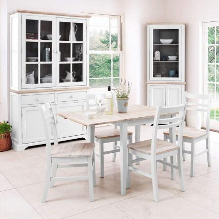 Set de masa plianta si 4 scaune Bayou, alb/ maro