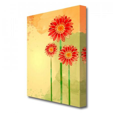 Tablou canvas 'Trio of Daisies Flowers' 101.6 cm Inaltime x 66 cm Latime