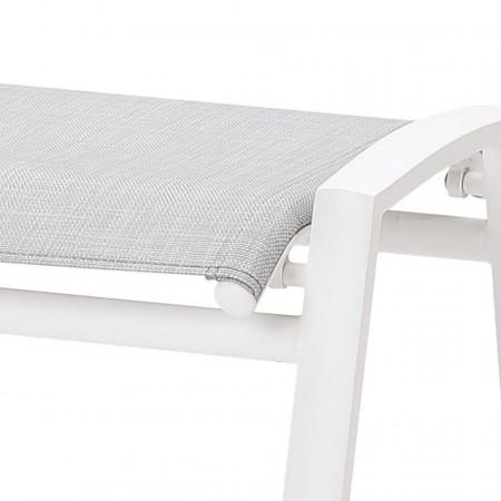 Taburet Cavalese aluminiu/textile, alb, 59 x 45 x 51 cm