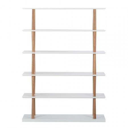 Biblioteca Regal Lindholm IV 5 rafturi, lemn masiv de stejar/MDF, alb, 120 x 168 x 39 cm
