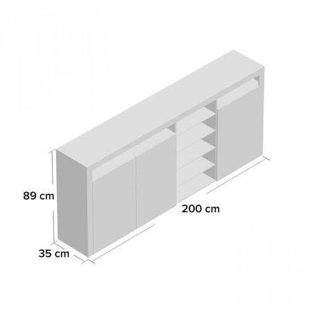 Comoda Eleada, 89x200x35 cm, MDF, alb lucios