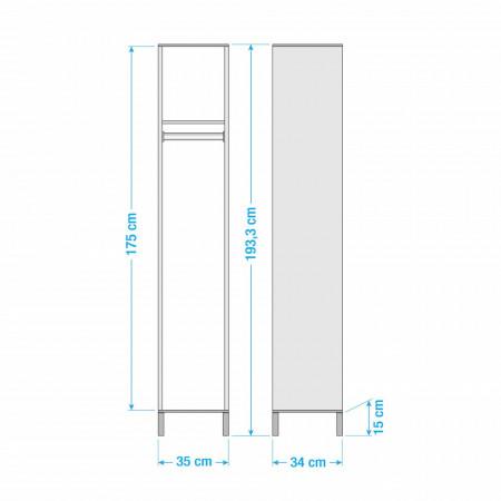 Dulap de hol Padua tip cuier PAL/stejar, alb, 35 x 193 x 33 cm