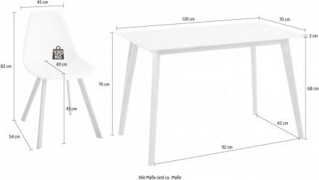 Masa de living Cody, alba, MDF/ lemn, 120/70/76 cm