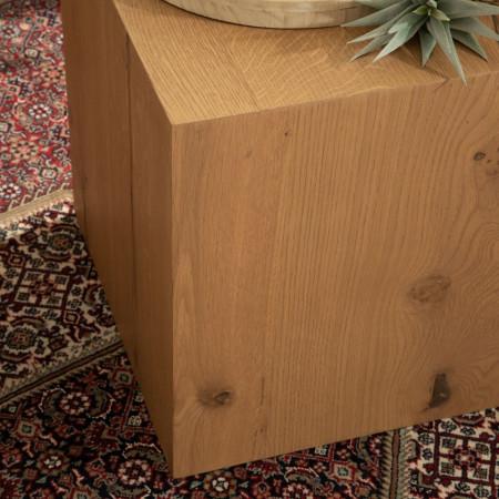 Masuta laterala Cubus II, din stejar masiv, 40x40x40 cm