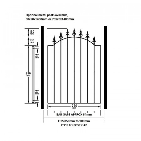 Poarta metalica de gradina Spear, 88cm W X 107cm H