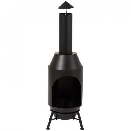 Semineu Chiminea pentru terasa, negru, 108 x 29 cm