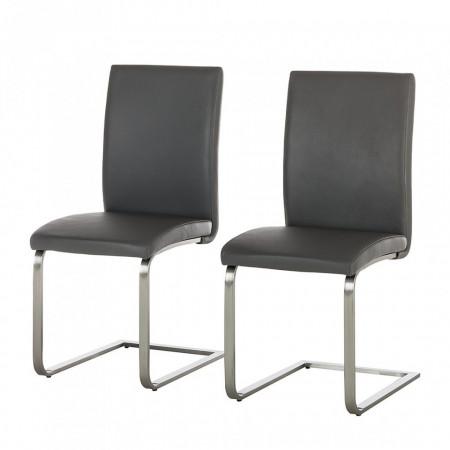 Set de 2 scaune Augusta I din piele naturala, gri, fara brate