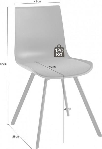 Set de 2 scaune Lucky, tesatura/metal, negru/negru, 48x40x43 cm