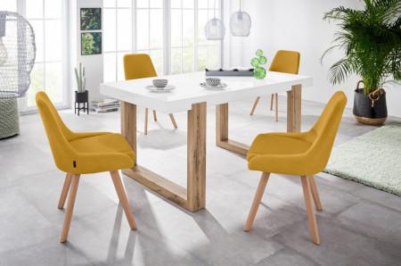 Set de 2 scaune Rudi, tesatura, stejar, mustar, 50x58x82 cm