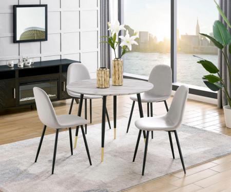 Set de 4 scaune tapitate Monza Eadwine, catifea/metal, gri/negru, 44x52x87 cm