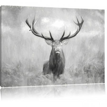 """Tablou """"Cerb mare în câmp"""", panza, alb-negru, 70 x 100 cm"""