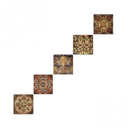 Tablou din 5 piese, MDF, maro, 15 x 15 x 0,3 cm