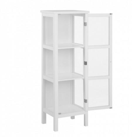 Vitrina Nasir sticla/MDF, alb, 46 x 137 x 36 cm