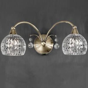 Aplică din bronz și sticlă cu 2 lumini LED, 14cm H x 33cm W x 18.5cm D