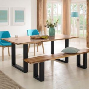 Banca Home Affaire, lemn salcam/ metal, 200 x 39 x 45 cm