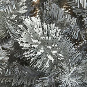 Brad artificial de Crăciun acoperit cu zăpadă și suport