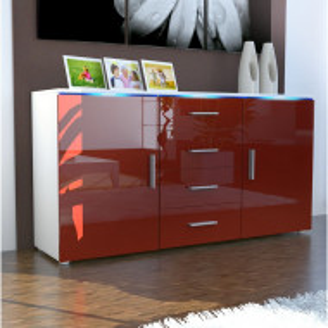Bufet Faro, alb/rosu, 72 x 139 x 35 cm