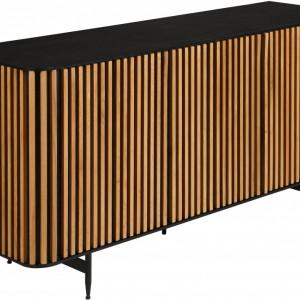 Bufet Linea, MDF, maro/negru, 159 x 74 x 45 cm