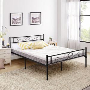 Cadru de pat Makenzie, negru, 89 x 160 x 208 cm