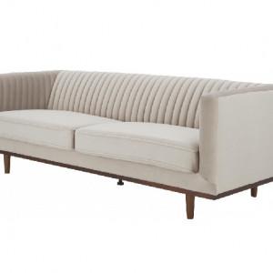 Canapea cu 3 locuri din catifea bej Dante, 210 x 72 cm
