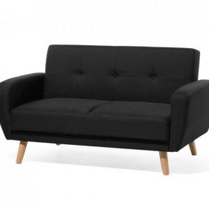 Canapea extensibilă Flori cu 2 locuri, negru