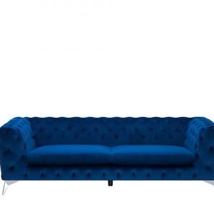 Canapea SOTRA, catifea, albastra, 70 x 224 x 85 cm