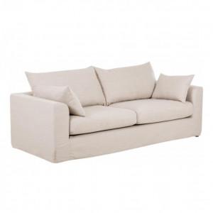 Canapea Zach, 3 locuri, tesatura, bej, 231 x 80 x 90 cm