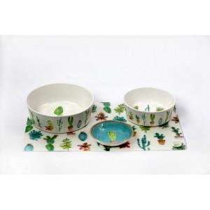 Castron pentru animale, melamina, alb/verde, 6,4 x 48,3 x 29,2 cm