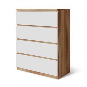 Comoda Baptistin, lemn masiv, alb/maro, 89 x 70 x 35 cm
