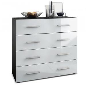Comoda Pavos, alb/negru, 72 x 76 x 35 cm