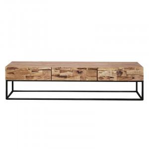 Comoda TV Easterling, lemn masiv, maro/negru, 180 x 46 x 40 cm