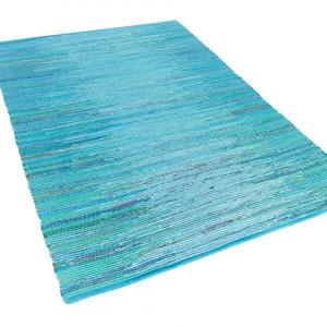 Covor de bumbac Mersin, albastru turcoaz, 80 x 150 cm