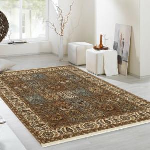Covor lucrat manual, lana, maro, 250 x 350 cm