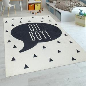 Covor, poliester, alb/negru, 180 x 280 cm