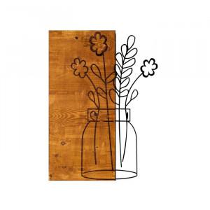 Decor de perete, lemn/metal, maro, 58 x 41 cm